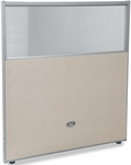 RiZe 47'' H x 37'' W Poly Panel With Translucent Tops and Gray Frame - Beige Vinyl [PG4737-GF-BV-MFO]