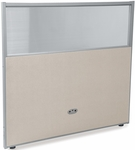 RiZe 47'' H x 48'' W Poly Panel With Translucent Tops and Gray Frame - Beige Vinyl [PG4748-GF-BV-MFO]