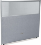 RiZe 47'' H x 48'' W Poly Panel With Translucent Tops and Gray Frame - Gray Vinyl [PG4748-GF-GV-MFO]