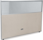 RiZe 47'' H x 61'' W Poly Panel With Translucent Tops and Gray Frame - Beige Vinyl [PG4760-GF-BV-MFO]