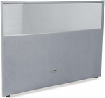 RiZe 47'' H x 61'' W Poly Panel With Translucent Tops and Gray Frame - Gray Vinyl [PG4760-GF-GV-MFO]