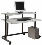 Dual Level 49.25''W x 31''D x 35''H Computer Workstation - Pewter and Gray [18650-FS-SDI]