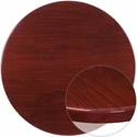 48'' Round High-Gloss Mahogany Resin Table Top with 2'' Thick Edge