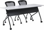 OSP Furniture 48''W x 24''D Training Table - Black Frame with Grey Top [84224BG-OS]