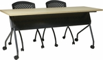 OSP Furniture 48''W x 24''D Training Table - Titanium Frame with Maple Top [84224TP-OS]
