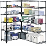 48'' W x 18'' D x 72'' H Industrial Wire Shelving with Durable Powder Coat Finish - Black [5291BL-SAF]