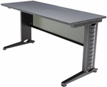 Fusion 48''W x 24''D Laminate Training Table with PVC Edge - Grey [MFTT4824GY-REG]