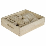48 Piece Hand-Sanded Solid Hardwood Architectural Blocks Set with Carry Case [ELR-19003-ECR]
