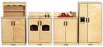 Birch Hardwood 4 Piece Full Play Kitchen Station Set - Fully Assembled [ELR-0501-ECR]