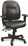 4x4 LE 29.5'' W x 26'' D x 37'' H Adjustable Height Mid Back Leather Executive Chair - Black [LM59802A-FS-EURO]