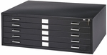 16.5'' H Five Drawer Steel Flat File for 24'' W x 36'' D Documents - Black [4994BLR-SAF]