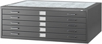 16.5'' H Five Drawer Steel Flat File for 30'' W x 42'' D Documents - Black [4996BLR-SAF]