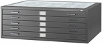 16.5'' H Five Drawer Steel Flat File for 36'' W x 48'' D Documents - Black [4998BLR-SAF]