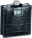 5 oz Stainless Steel Flash with Croco Pattern Case - Top Grain Nappa Leather - Black