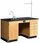 Science Instructor's Wooden Desk with 1'' Thick Black Epoxy Resin Top and Left Oriented Sink - 60''W x 30''D x 36''H [1216K-L-DW]