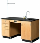 Science Instructor's Wooden Desk with 1'' Thick Black Epoxy Resin Top and Right Oriented Sink - 60''W x 30''D x 36''H [1216K-R-DW]