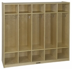 Birch Hardwood Five Section 10 Hook Straight Coat Locker with 10 Cubbies [ELR-0425-ECR]