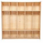 Children's 5-Section Baltic Birch Plywood Storage Locker with Two Single Coat Hooks in Each Section - 46.75''W x 12''D x 46.75''H [C51200-WDD]