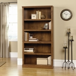 Wooden 35.25''W x 70''H 5 Shelf Bookcase with 3 Adjustable Shelves - Oiled Oak [410367-FS-SRTA]