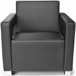 Distinct Soft Seating Lounge Chair with Chrome Feet - Black [831-PU606-FS-MFO]
