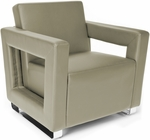 Distinct Soft Seating Lounge Chair with Chrome Feet - Taupe [831-PU607-FS-MFO]