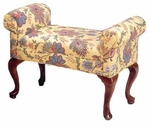 505 Armed Bench w/ Upholstered Web Seat & Queen Anne Legs - Grade 1 [505-GRADE1-ACF]