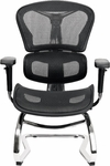 6 Series Guest Chair with Sled Base - Black [6G-BMBM-PA-FS-ATO]