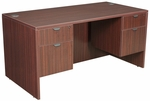 Legacy 60''W x 30''D Wooden Desk with Two Locking Pedestals - Mahogany [LDP6030MH-FS-REG]