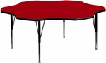 60'' Flower Shaped Activity Table with Red Thermal Fused Laminate Top and Height Adjustable Preschool Legs [XU-A60-FLR-RED-T-P-GG]