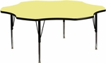 60'' Flower Shaped Activity Table with Yellow Thermal Fused Laminate Top and Height Adjustable Preschool Legs [XU-A60-FLR-YEL-T-P-GG]