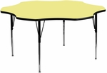 60'' Flower Shaped Activity Table with Yellow Thermal Fused Laminate Top and Standard Height Adjustable Legs [XU-A60-FLR-YEL-T-A-GG]