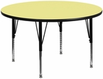 60'' Round Activity Table with Yellow Thermal Fused Laminate Top and Height Adjustable Preschool Legs [XU-A60-RND-YEL-T-P-GG]