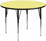 60'' Round Activity Table with Yellow Thermal Fused Laminate Top and Standard Height Adjustable Legs [XU-A60-RND-YEL-T-A-GG]