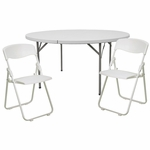 60'' Round Banquet Table & 8 White Plastic Folding Chair Set [DAD-YCZ-154-GW-RUT-I-WHITE-SET-GG]