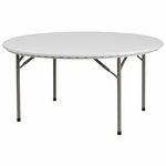 60'' Round Granite White Plastic Folding Table [RB-60R-GG]