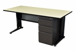 Fusion 60''W x 24''D Single Pedestal Laminate Desk with PVC Edge - Maple [MSP6024PL-FS-REG]