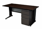 Fusion 60''W x 24''D Single Pedestal Laminate Desk with PVC Edge - Walnut [MSP6024MW-FS-REG]