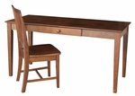 Solid Wood 2 Piece 60''W Home Office Desk Set With Drawer And Armless Chair - Espresso [K-581-42-10-FS-WHT]