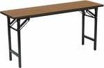 60''W x 18''D Multi-Purpose Folding Training Table with Medium Oak Laminate - Matte Black [TFD1860-IFK]