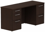 300 Series 60'' W x 22'' D Double Pedestal Desk - Mocha Cherry [300S035MR-FS-BBF]