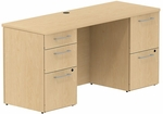 300 Series 60'' W x 22'' D Double Pedestal Desk - Natural Maple [300S035AC-FS-BBF]