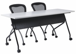 OSP Furniture 60''W x 24''D Training Table - Black Frame with Grey Top [84225BG-OS]