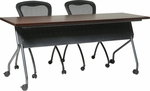 OSP Furniture 60''W x 24''D Training Table - Titanium Frame with Mahogany Top [84225TM-OS]