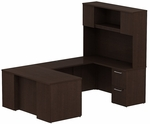 300 Series 60'' W x 30'' D Desk in U-Configuration with Three Drawer Pedestal Box Box File - Mocha Cherry [300S057MR-FS-BBF]