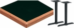 24'' x 60'' Laminate Table Top with Waterfall Wood Edge and 2 Bases - Standard Height [ATW2460-T0522M-SAT]