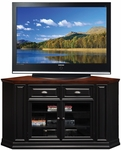 Riley Holliday 62''W x 36''H Two Tone Hardwood Corner TV Stand with Beveled Glass Doors - Black and Cherry [87236-FS-LCK]