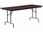 62000 Series 30''W x 72''L Traditional Rectangular Folding Table with Walnut Top and Char Black Frame [623072-VCO]