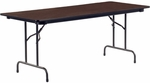 6200 Series Traditional Rectangular Folding Table with Walnut Top and Char Black Frame - 30''W x 72''D x 29''H [623072-VCO]