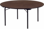 6200 Series Traditional Round Folding Table with Walnut Top and Char Black Frame - 60'' Diameter x 29''H [6260R-VCO]