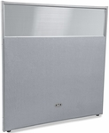 RiZe 63'' H x 61'' W Poly Panel With Translucent Tops and Gray Frame - Gray Vinyl [PG6360-GF-GV-MFO]